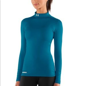 Teal blue under armour cold gear compression shirt